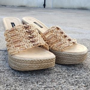 Y2k beaded espadrilles wedges sandals heels